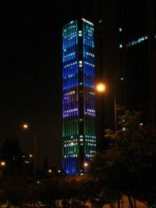 La tour Colpatria à Noël, Bogota
