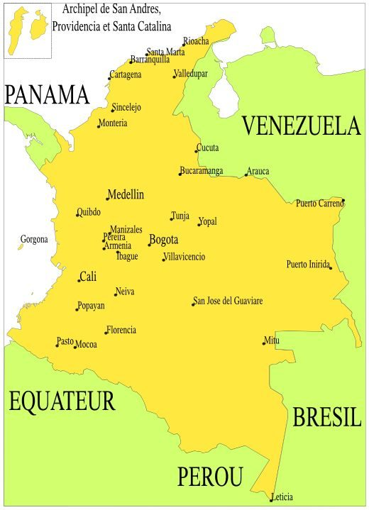 carte des principales villes de Colombie